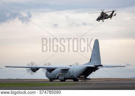 Avalon, Australia - February 27, 2015: Royal Australian Air Force Lockheed Martin C-130j Hercules Mi