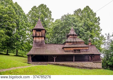 View At The Wooden Church Of Saint Kozma And Damian In Lukov - Slovakia