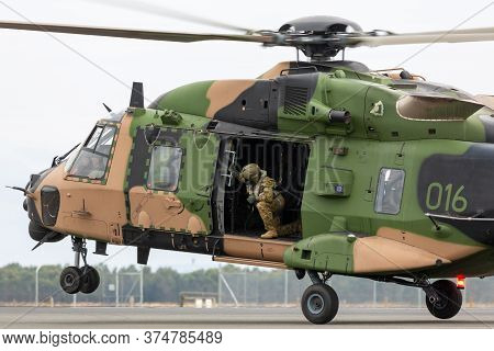 Avalon, Australia - February 27, 2015: Mrh-90 Taipan Multirole Military Helicopter Jointly Operated