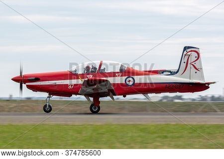 Avalon, Australia - February 27, 2015: Pilatus Pc-9a Trainer Aircraft A23-037 From The Royal Austral