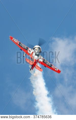 Avalon, Australia - February 26, 2015: Lithuanian Aerobatic Pilot Jurgis Kairys Flying His Juka, An