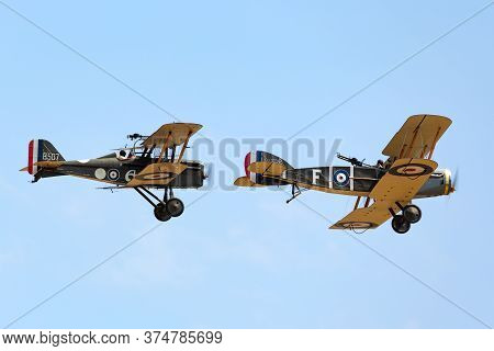 Avalon, Australia - February 25, 2015: Bristol F.2 Fighter (replica) British Two-seat Biplane Fighte