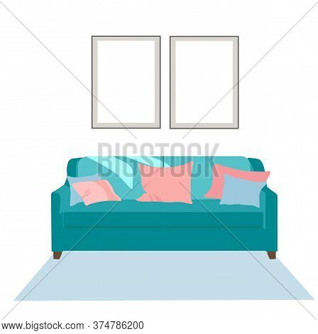 Vector Stock Illustration Of A Sofa. Nice Room Green Sofa, Cozy Pillows Paintings On The Wall, Carpe