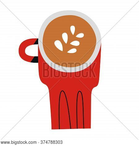 Cappuccino Doodle Cup, Red Mug With Capuccino Coffee Drink With Milk Foam, Hand Drawn Icon, Isolated