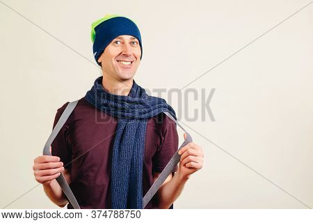 Smiling Young Nerd Over White Background. Funny Nerd Or Geek Have An Idea. Nerd Smiling And Having F