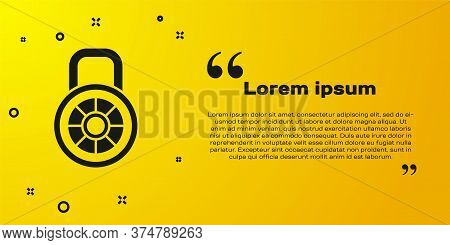 Black Safe Combination Lock Icon Isolated On Yellow Background. Combination Padlock. Security, Safet
