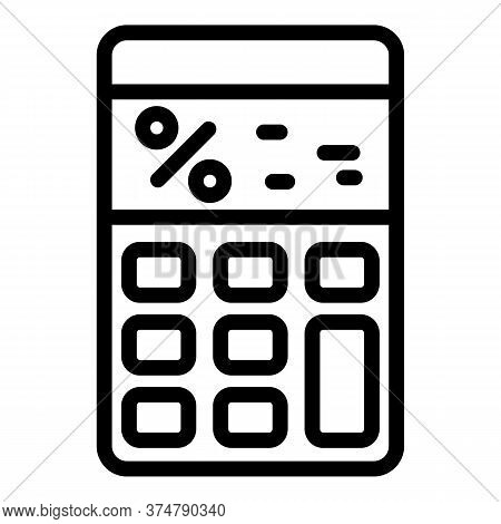 Finance Calculator Icon. Outline Finance Calculator Vector Icon For Web Design Isolated On White Bac