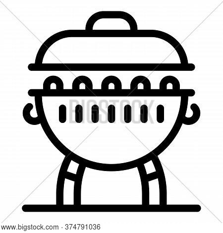 Charcoal Brazier Icon. Outline Charcoal Brazier Vector Icon For Web Design Isolated On White Backgro