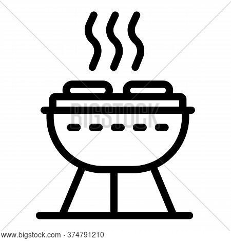 Barbecue Grill Icon. Outline Barbecue Grill Vector Icon For Web Design Isolated On White Background