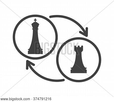 Black And White Chess Castling Sign. Chess Game Tournament And Professional Sport Competition Symbol