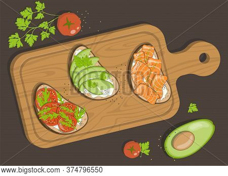 Board With Three Bruschettas With Cottage Cheese, Red Salt Fish, Avocado, Tomatoes And Herbs.