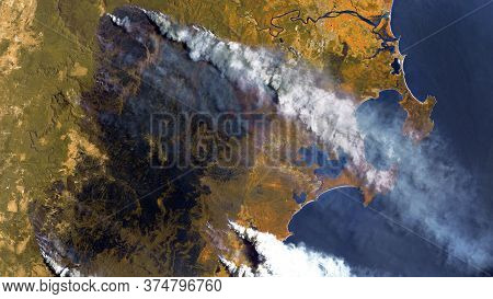 Forest Fires In Australia, A View From Space. Environmental Problems, A Large Fire In The Forest, A