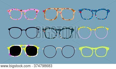 Modern Eyewear Frames. Retro, Trendy Women And Men Glasses. Terrazzo Glass Frames. Old Fashioned Fra
