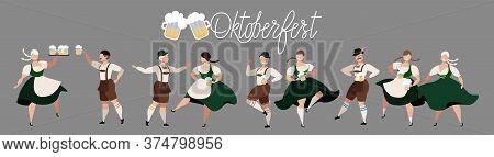 Oktoberfest Beer Festival. People Drinking Beer, Dancing, Celebrating. German Traditional Holiday. S