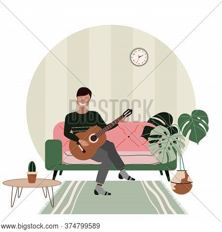 Young Man Playing Guitar At Home. Private Guitar Lessons. Man Sitting On A Sofa. Hand-drawn Vector I