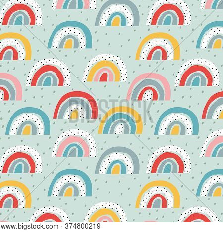 Stylised Rainbow Pattern. Trendy Childish Vector Design For Wallpapers, Cards, Wrapping Paper. Dots