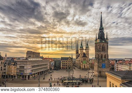 Halle / Germany - February 25, 2017: Halle Market Square With Red Tower (roter Turm) And Marktkirche