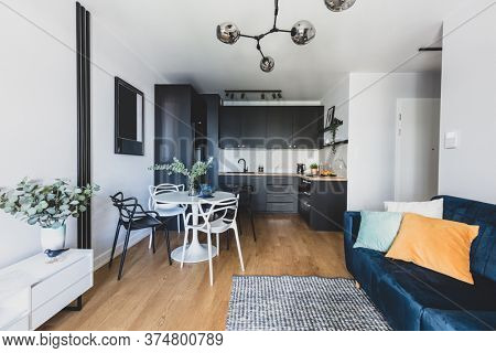 Living room with kitchen annexe in a modern studio apartment for rent. Interior design