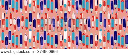 Pencils And Pens Seamless School Pattern. Cute Colourful Stationery Background. Modern Hand-drawn Ca
