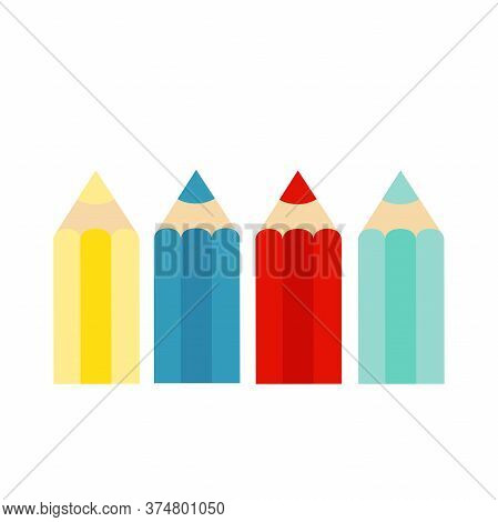 Colored Crayons, Colorful Pencil Set On White Background. Vector Illustration.