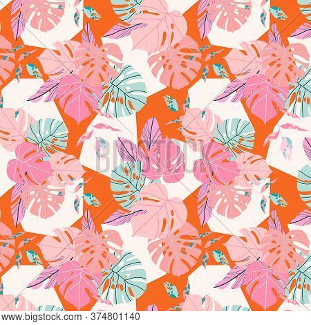 Orange Tropical Pattern. Seamless Caribbean Exotic Plants And Geometric Shapes. Modern Hand Drawn Ve