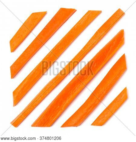 Creative layout of sliced carrot. Vegetable pattern. Food background isolated over white. Flat lay, top view.