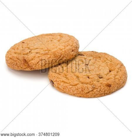 Two Chocolate chip cookies isolated over white background. Sweet biscuits. Homemade pastry.