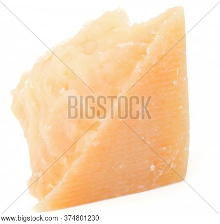 One parmesan cheese shred isolated over white background cutout