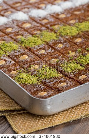 Traditional Turkish Dessert Sambali In Tray On Wooden Table