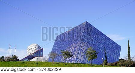 Poitiers Futuroscope, Nouvelle Aquitaine / France - 01 16 2020 : Futuroscope Park Geode With Cinema