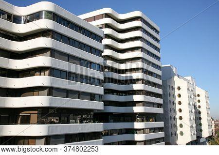 Bordeaux , Aquitaine / France - 10 23 2019 : Modern Building Design Meriadeck District Of Bordeaux F
