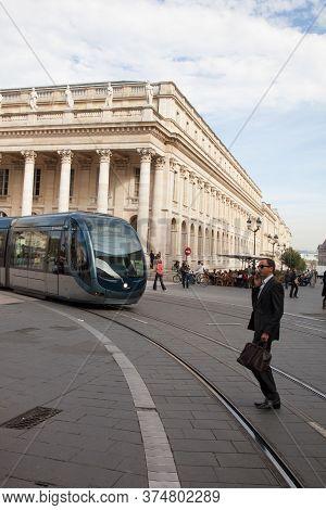 Bordeaux , Aquitaine / France - 10 30 2019 : Bordeaux City Landmarks Town Center With Tram France