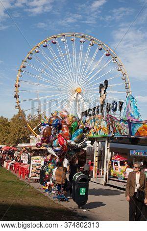 Bordeaux , Aquitaine / France - 10 30 2019 : Ferris Wheel High In Bordeaux City Center France