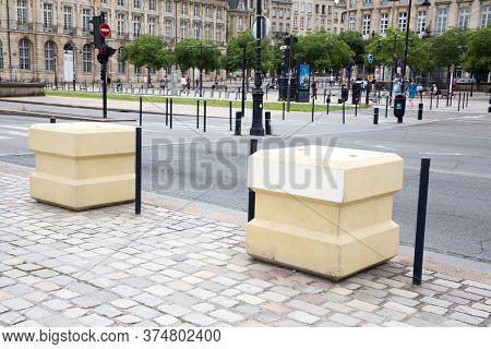 Bordeaux, Aquitaine / France - 06 11 2018 : Blocstop Concrete Block Anti Intrusion Attack Bombing