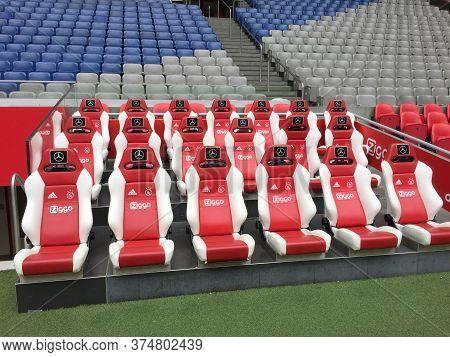 Amsterdam / Netherlands - 10 25 2018 : Interior View Of Amsterdam Arena Stadium Nederlands Leather C
