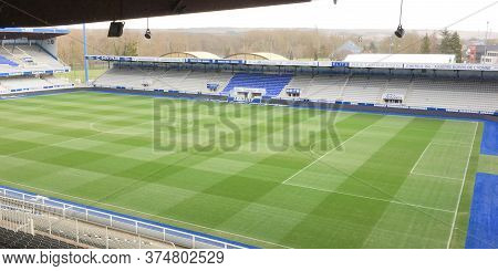 Auxerre , Bourgogne Franche Comte / France - 10 27 2019 : Aja Auxerre Football Arena Soccer Game Sta