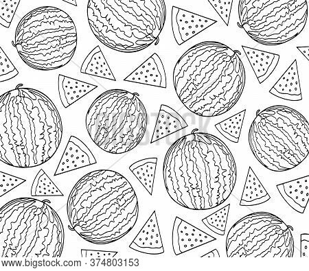 Pattern Of Watermelons And Slices Of Watermelons. Coloring With Watermelons.