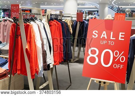 Sale Label Billbord Stand Template In Clothing Store For Sale Promotion And Discount Information For