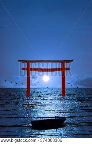 Full Moon Clear Night Sky Over Torii And Birds Flying And Fishing Boat On The Sea