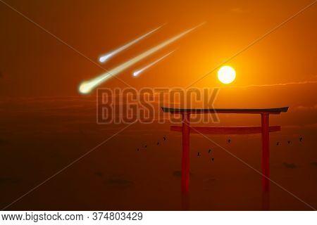 Torii Sunset Metero And Birds Flying On Sea