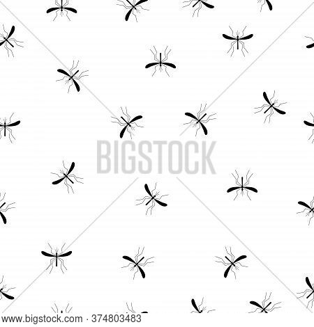 Mosquitoes Seamless Pattern White Background. Zika Virus Malaria Alert Vector Illustration.