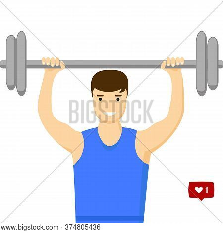 Vector. Flat Style. Concept Slimming Symbol Weight Loss. Silhouette Of Sportsman With Barbell