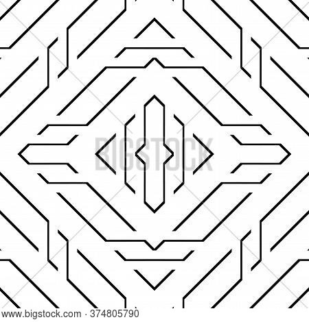 Design Seamless Monochrome Diamond Pattern. Abstract Stripy Background. Vector Art