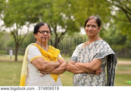 Portrait Of Two Senior Indian Women Friends Sisters Women Standing In A Park Wearing Saree And Salwa