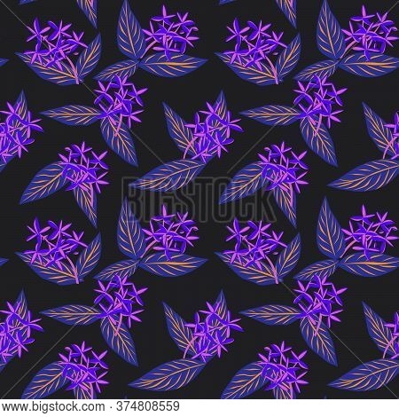 Purple Tropical Botanical Leaf Seamless Pattern Background