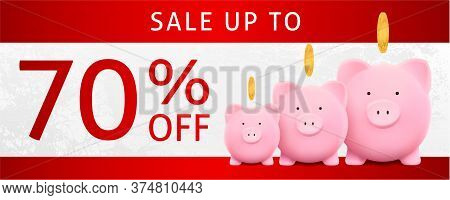 Discount Coupon With Family Piggy Bank With Gold Coin And Sale Text: 70% Off On Red And White Backgr