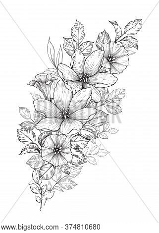 Hand Drawn Bouquet With Flowers And Different Leaves Isolated On White. Vector Monochrome Elegant Fl