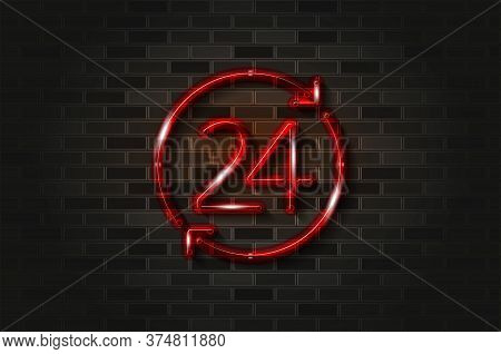24 Hours, Convenience Store Glowing Neon Sign Or Glass Tube. Realistic Vector Illustration. Black Br