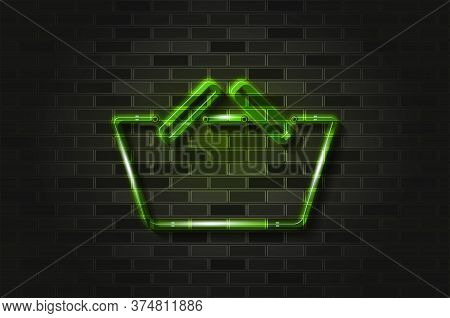 Convenience Store, Green Shopping Basket Glowing Neon Sign Or Glass Tube. Realistic Vector Illustrat