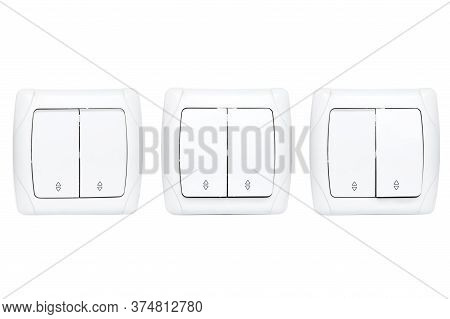 Double Light Switch Isolated On A White Background, Set Electric Switch With Buttons In Different Po